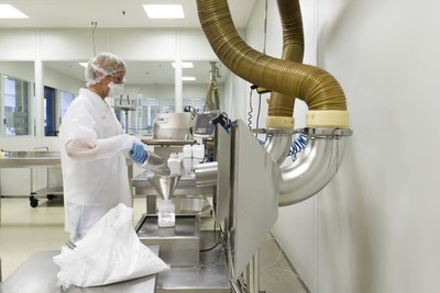 Filling of Merck's new synthetic cholesterol product at the company's Darmstadt, Germany facility. This new product is more than 99 percent pure, offers high batch-to-batch consistency and is scalable under commercial GMP.